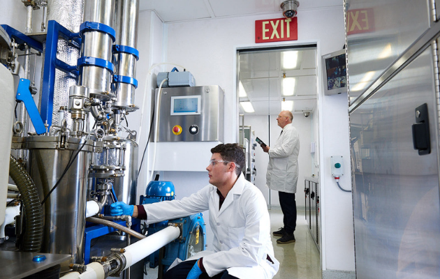 Lab technician working inside the lab