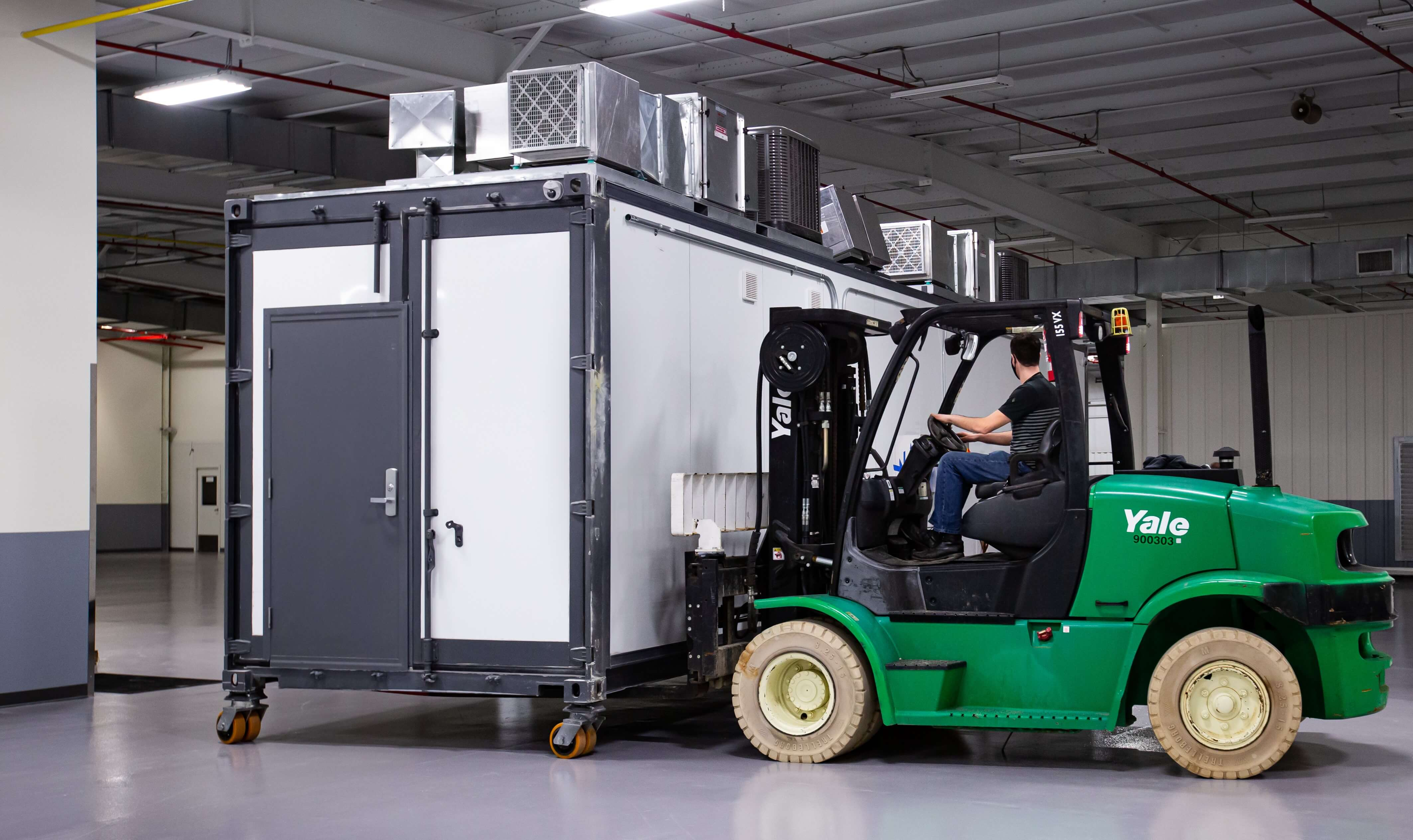 eXi mobile lab moved inside a facility